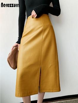 Nerazzurri Midi skirts below knee 2021 Yellow black soft leather skirt women zipper Long straight skirts for women high waist 1