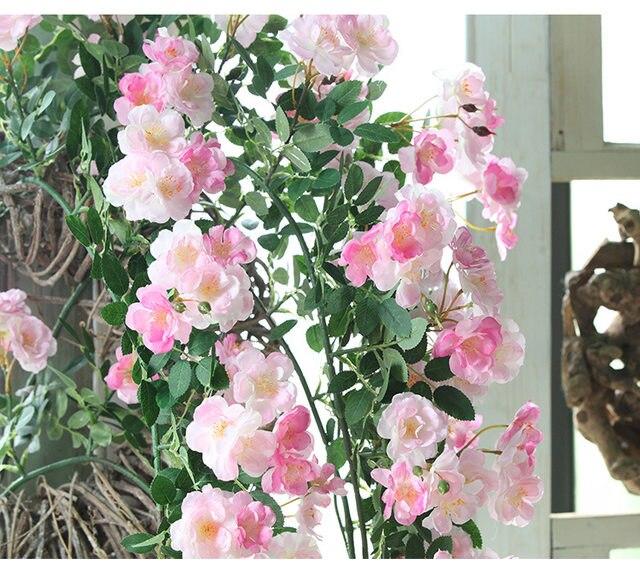 JAROWN Artificial Rose Flower Vine Fake Flower Rattan Wedding Arch Decoration Shop Landscaping Plants Flower Branch Wall Hanging Home Decoration (11)