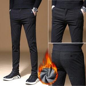 Image 3 - 2010 new Mens Winter thick Fleece Fluff Pants men Korean Casual Slacks Slim Warm Pants for men Black Navy blue Trousers male