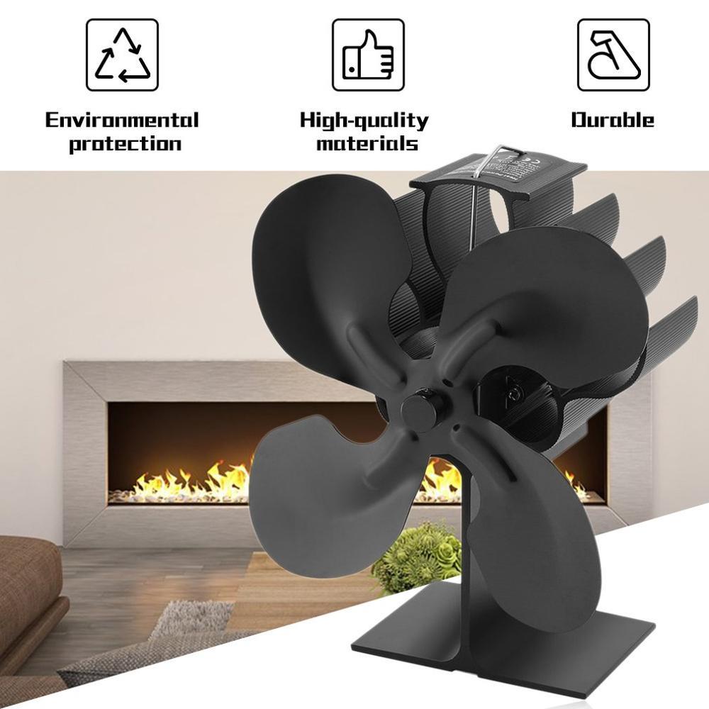 Ventilador de cocina de 4 hojas con energía térmica para madera/quemador de troncos/Chimenea-Eco