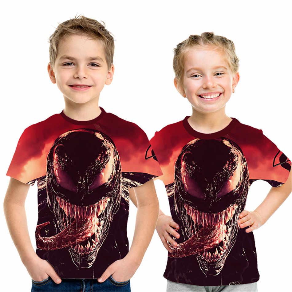 2020 קיץ ילדים אנימה סרט 3D חולצה ארס Deadpool איש עכביש גולגולת הדפסת בני בנות T חולצה ילדי Tshirts חולצות 4-12 שנים