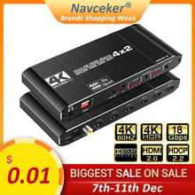 2020 Best HDMI Matrix 4x2 4K 60Hz HDR HDMI ARC Switch Splitter 4 in 2 out Optical SPDIF + 3.5mm jack Audio HIFI HDMI Switcher