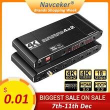 2020 Beste Hdmi Matrix 4X2 4K 60Hz Hdr Hdmi Arc Switch Splitter 4 In 2 Out optische Spdif + 3.5Mm Jack Audio Hifi Hdmi Switcher
