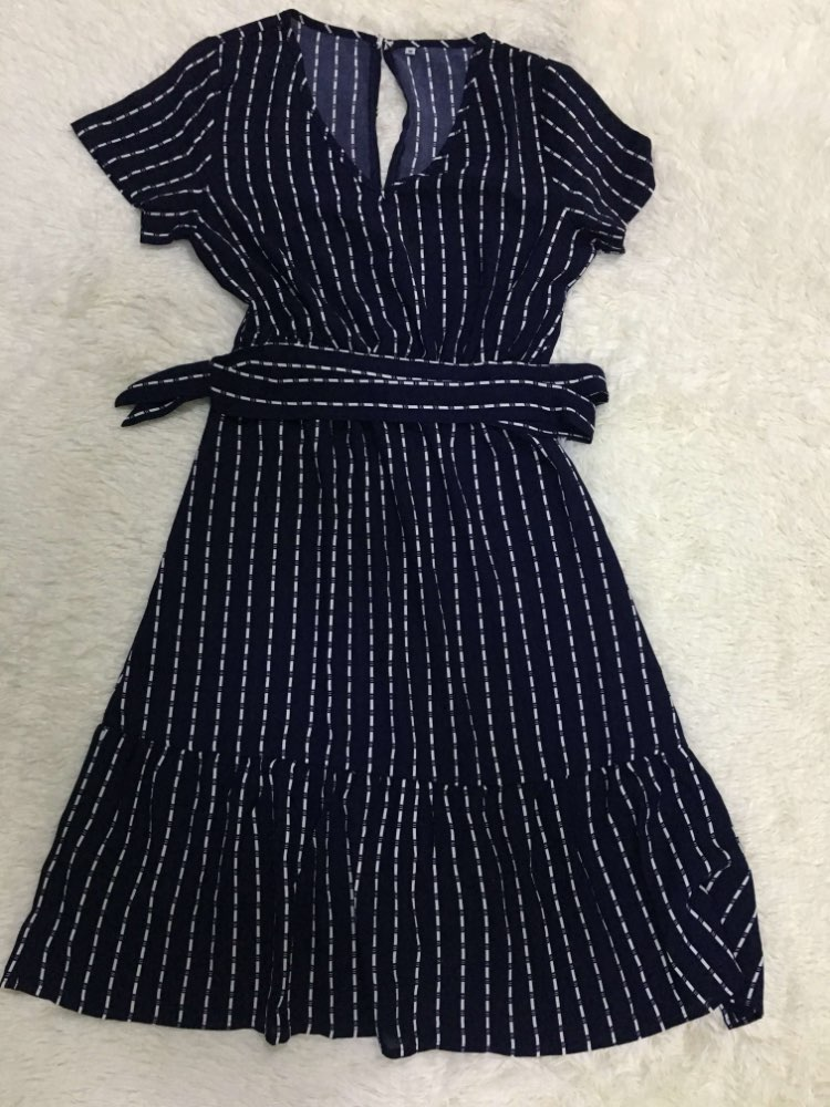 Summer Casual Short Sleeve Striped Dress Women V-neck Ruffles High Waist Lace Up Knee-Length Dress 2020 New