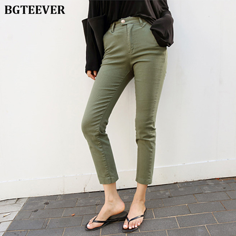 Fashion Army Green Slim Jeans For Women Skinny High Waist Jeans Female Denim Pencil Pants Stretched Women Jeans Pants Plus Size