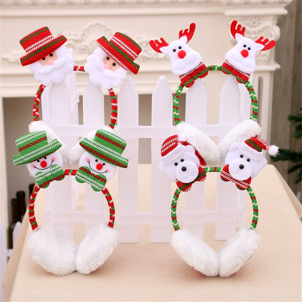 Merry Christmas Cute Earmuffs Winter Accessories Ear Warmer Plush Santa Claus Headband Ear Muffs  Kid Adult GIFT