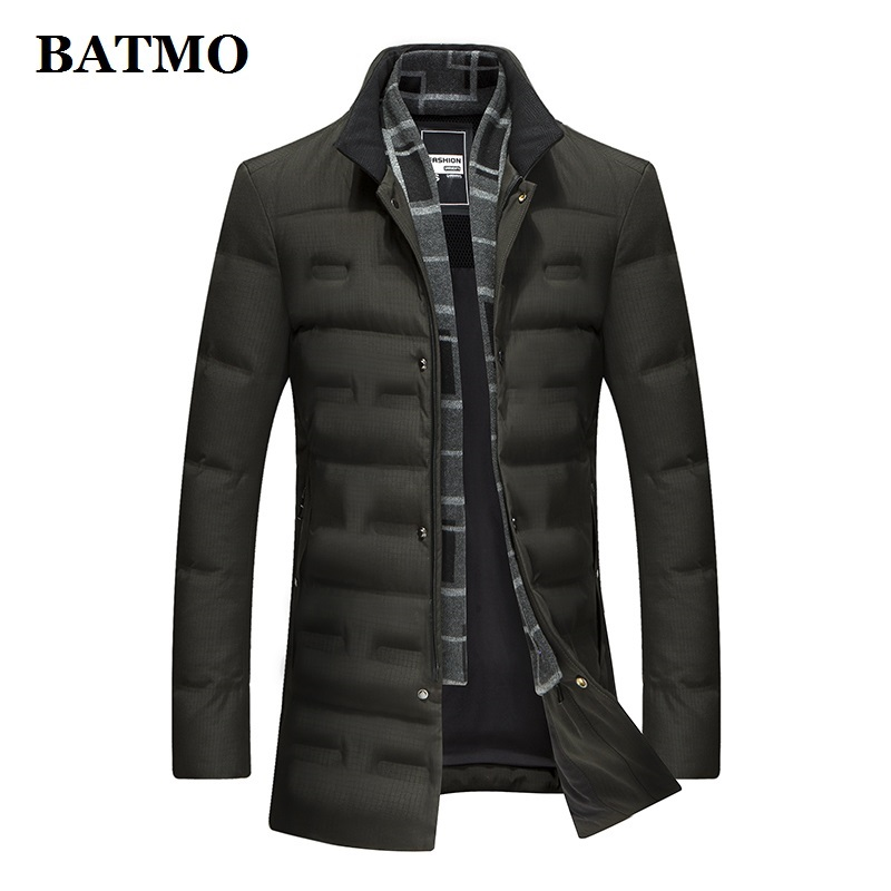 BATMO 2019 New Arrival Winter High Quality 90% White Duck Down Jackets Men,men's Warm Green Jackets ,plus-size 8903
