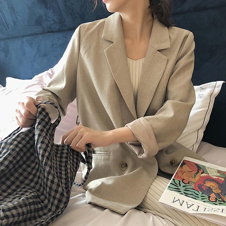 2020 Fashion Slim Fit Blazer Women Classic Jacket Women Casual Beige Outwear Summer Autumn Lady Office Suit Blazer Plus Size