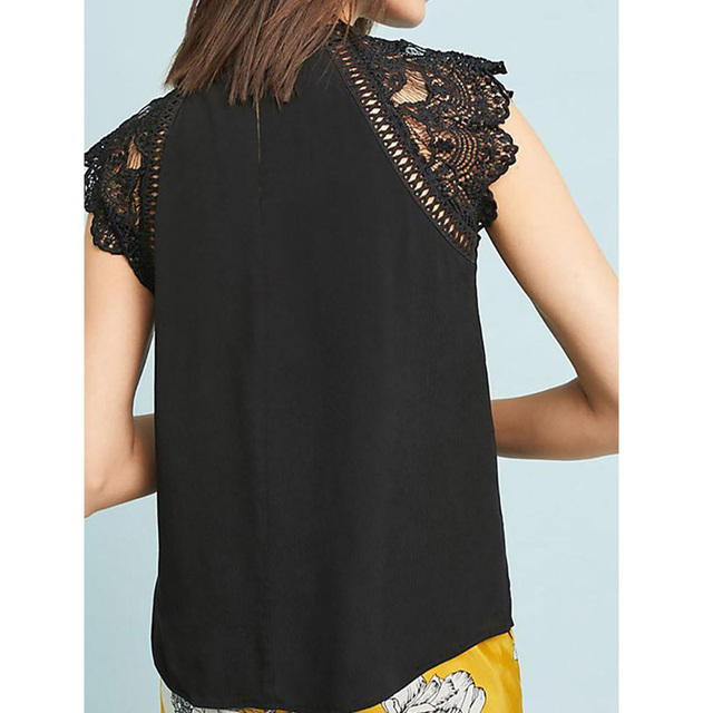 Summer 2021 Womens Tops And Blouses Lace Patchwork Sleeveless Solid Shirt Women Blouse Blusas Roupa Feminina 5