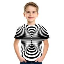 Swirl Short Sleeve T Shirt Summer Kids T-Shirt Boys Girls Casual Top 3D T-Shirts Fashion O-Neck Shirt Children Streetwear