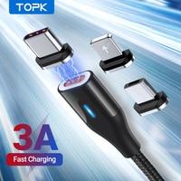 TOPK AM39 cavo magnetico Micro USB tipo C per iPhone 6 7 8Plus 11 3A caricabatterie magnetico a ricarica rapida per cavi per telefoni cellulari Xiaomi