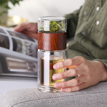 Tea Bottle Glass Bottled Water Bottle Infuser With Filter Strainer Borosilica Double Wall Drink Wood grain 200ml Car Drinkware 2