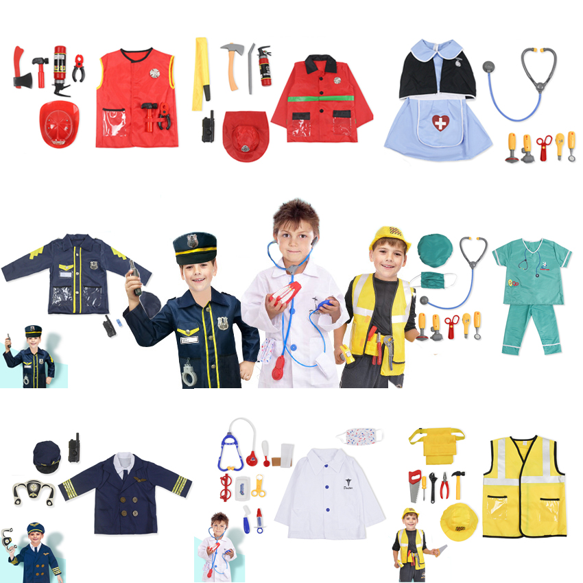 Unisex Children Professional Uniform Halloween Cosplay Costumes Pilot Fireman Nurse Surgery Doctor Policeman Performance Clothes