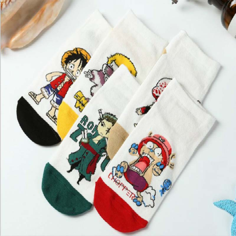One Piece Manga Cartoon Cotton Short Sock Men Women Combed Cotton Printing Luffy Solon Choba Straight Socks Fashion Hosiery