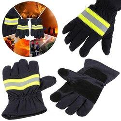 Yangına dayanıklı eldiven aşınma direnci kaymaz kalın koruyucu eldiven 1 çift yangına dayanıklı koruyucu eldivenler itfaiyeci için