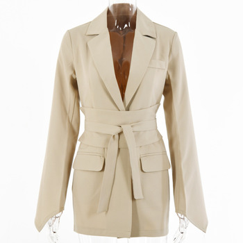 [EWQ] Korea Chic Trendy Women Simplicity Solid Color Lapel Tie Wide Loose Fashion Khaki Long-sleeved Blazer Autumn 2021 16E1038 1