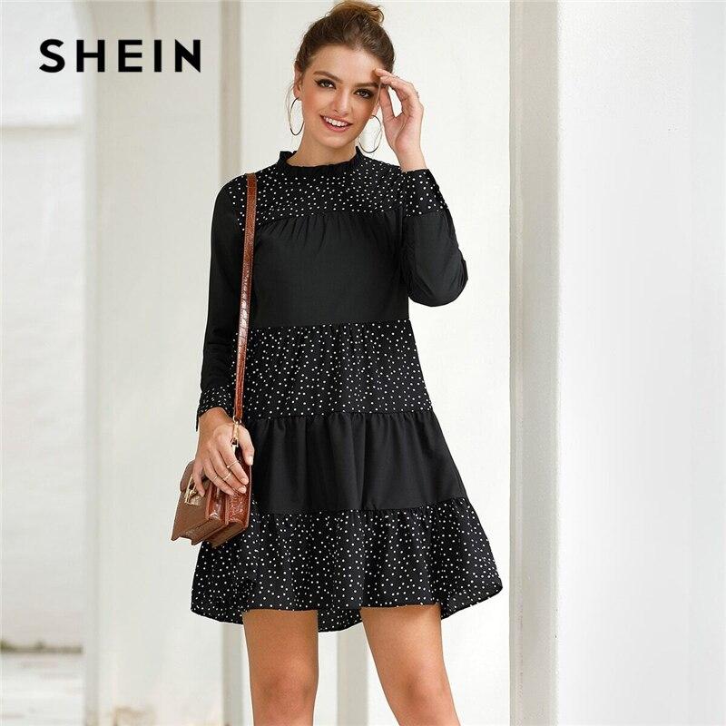 SHEIN Black Contrast Polka Dot Frill Mock Neck Babydoll Dress Women Spring Long Sleeve Casual Flared Smocked Short Dresses