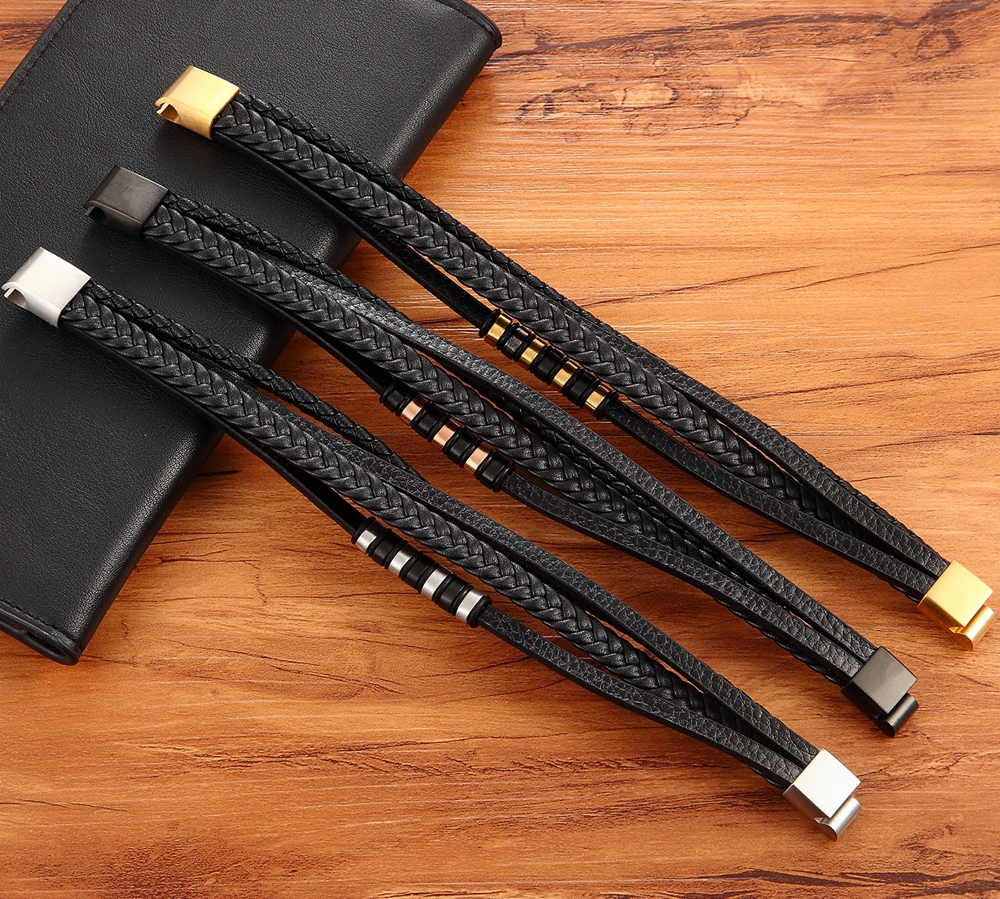 Fashion Unisex Multi-layer Woven Leather And Stainless Steel Combination Men's Leather Bracelet Black Brown Male Jewelry Gift