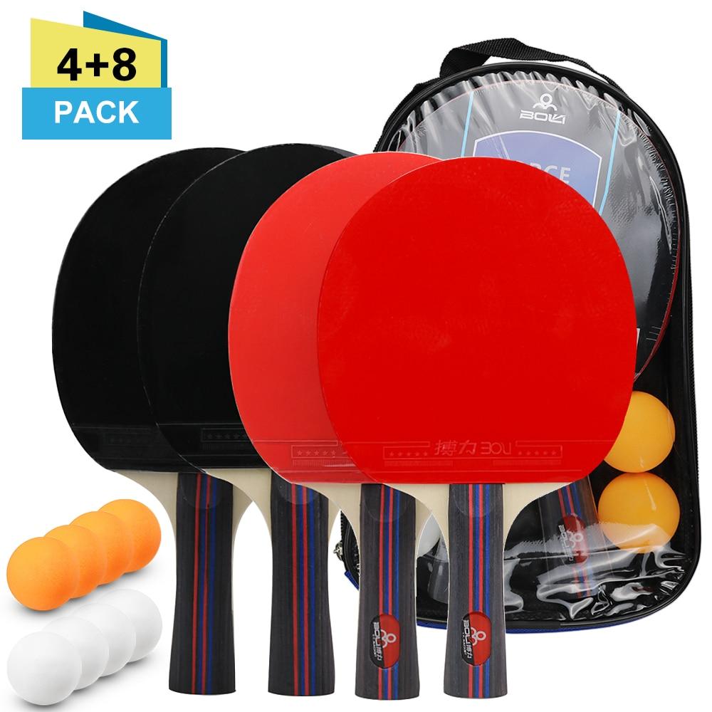 Table Tennis Ball And Bat Set 4 Ping Pong Bats 8 Ping Pong Balls Pack Ping Pong Paddle Racket Set With Bag