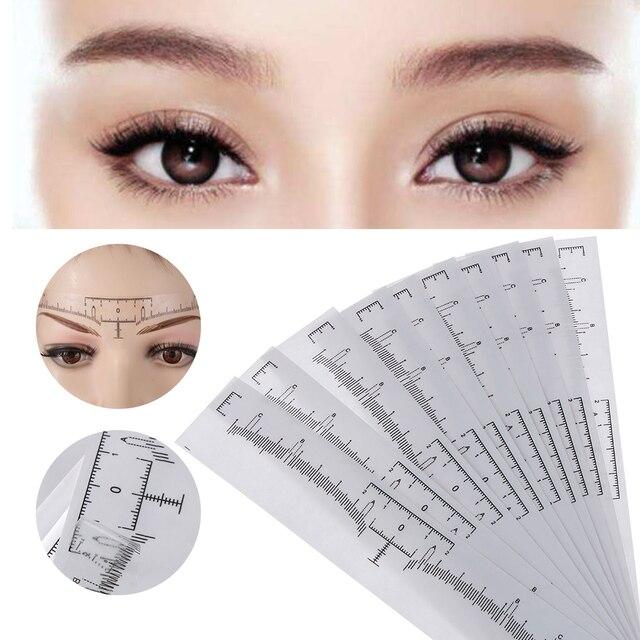 50PC Reusable Semi Permanent Eyebrow Ruler Eye Brow Measure Tool Eyebrow Guide Ruler Microblading Calliper Stencil Makeup 2