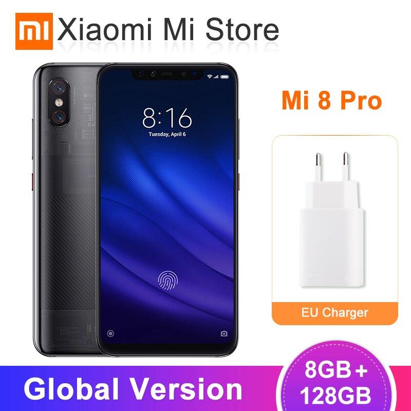 Versão Global Xiao mi mi 8 Pro 8GB 128GB Snapdragon 845 Em-Fingerprint tela 20MP Câmera Frontal NFC Telefone Celular Transparente