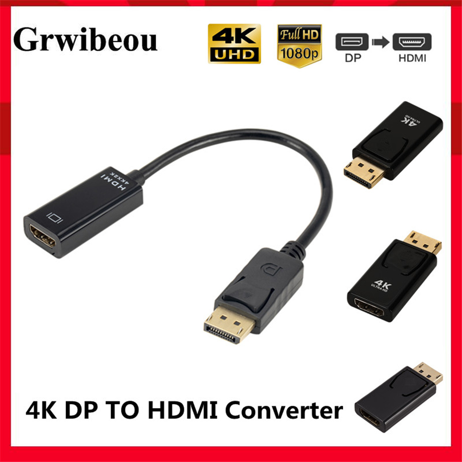 4K DisplayPort to HDMI-compatible Adapter Converter Display Port Male DP to Female HD TV Cable Adapter Video Audio For PC TV