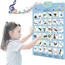 Children's Montessori Early Education Wall Chart Electronic Interactive Alphabet Animal Cognition Calenda Talking Music Poster#Z