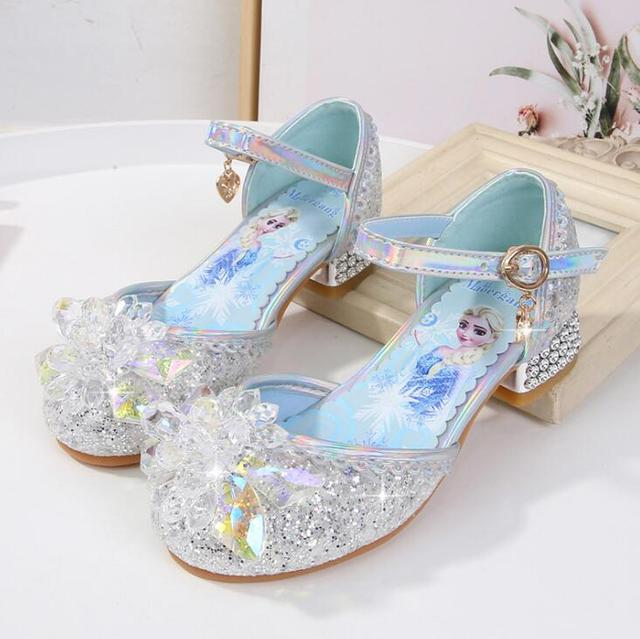 Disney children's high heel princess party shoes summer new girls sandals baby children's shoes little girl crystal shoes 23-36