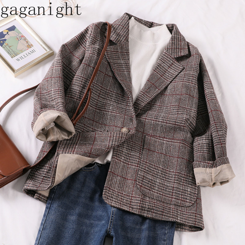 Gaganight Casual Classic Office Lady Plaid Women Jacket Blazer Double Breasted Notched Collar Pockets Loose Jackets Female
