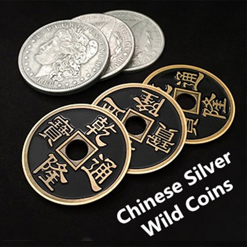 Chinese Silver Wild Coins Magic Tricks Three To One Coin Change Magia Close Up Illusions Gimmick Prop Appear Vanish FISM Hot
