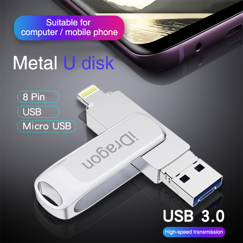 BaseQi IDragon USB3.0 High-Speed Metal USB Flash Drive For Iphone / Android / Computer Three-in-One Multi-Function USB Stick