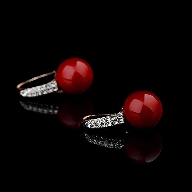 สีแดงขนาดใหญ่ต่างหู Pendientes Rojos เครื่องประดับ Fine Rose Gold สีต่างหูปะการังประดิษฐ์ต่างหูผู้หญิงขนาดใหญ่ CZ หินต่างหู