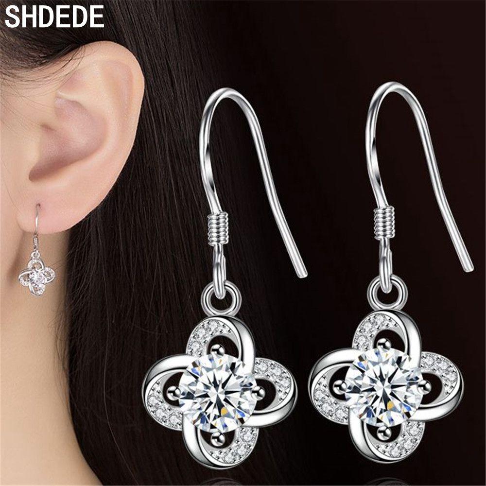 SHDEDE 925 Silver Drop Earrings For Women Fashion Jewelry Embellished With Crystals From Swarovski Flower Dangle Eardrop -WH168
