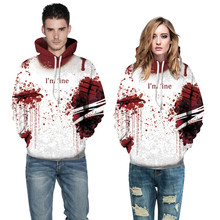 Women Men Hoodies Blood 3D Print Long Sleeve Halloween Couples Hoodies Pullover Sweatshirt L0808 3d graphic print emboss long sleeve sweatshirt