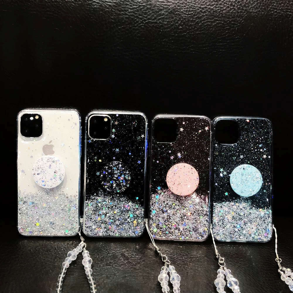 Bling Glitter Case For iPhone 11 Pro Max 11 Pro 11 XS XR X XS Max 6s 6 7 8  PlusSlim Case With Stand Holder Phone Cases Socket 5