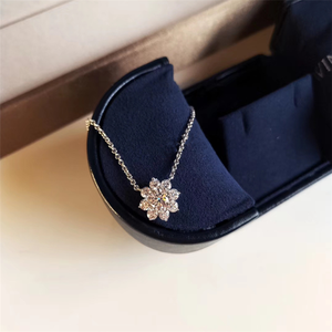 Image 4 - ZN S925 Sterling Silver Material Exquisite luxury full  fire flower necklace European American fashion necklace for women
