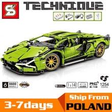 Racing Building Blocks MOC Simulation Green Super Sports RC Car Model Bricks Kids Toys Boyfriend Gift for Adult 8600