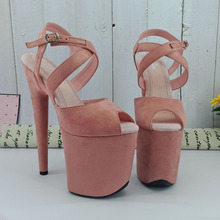 цена на Leecabe  Pink Suede covered style high heel sandals 20cm sexy model shoes pole dancing shoes