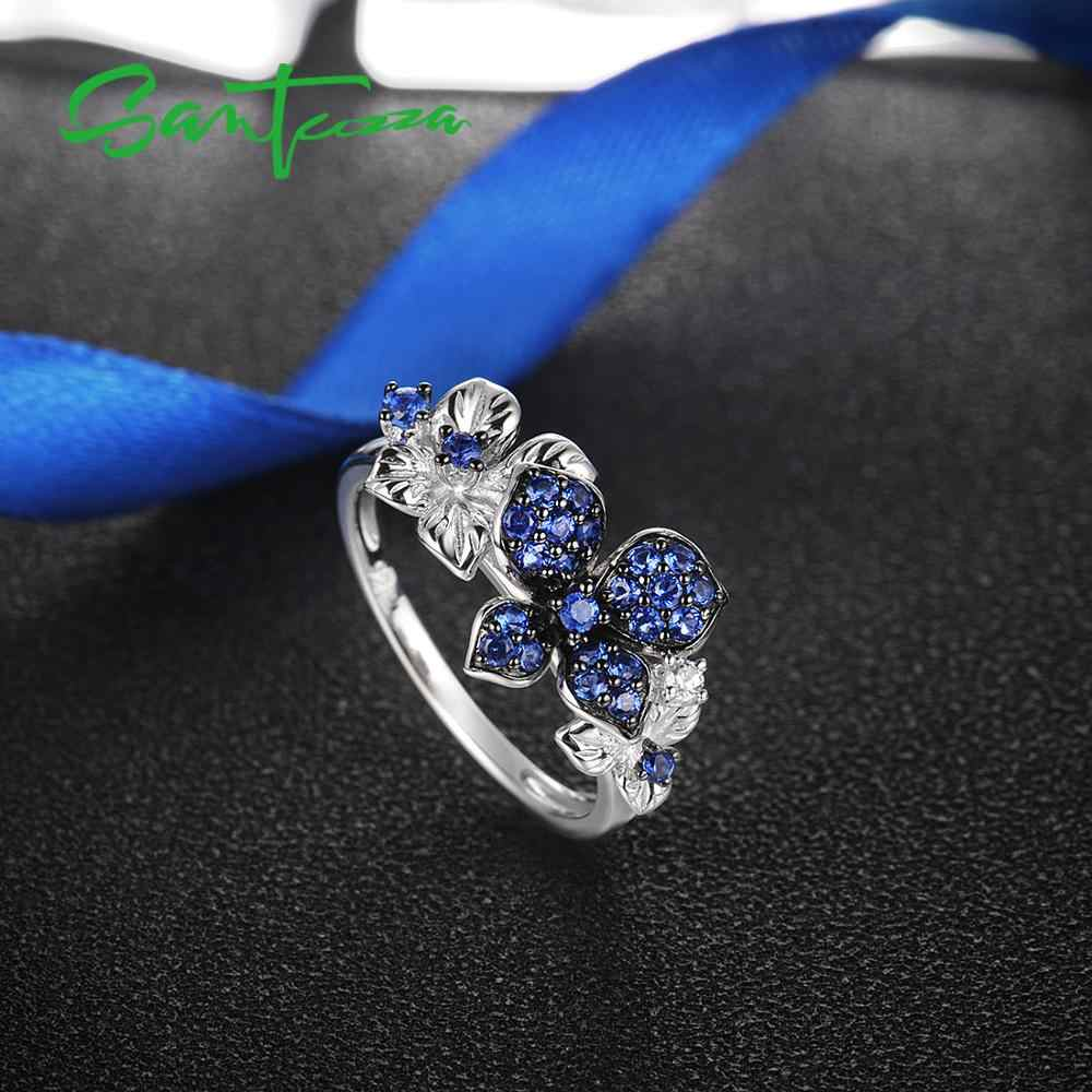 SANTUZZA כסף טבעות לנשים אמיתי 925 כסף סטרלינג עדין כחול לבן פרפר טבעת טרנדי השנה תכשיטים