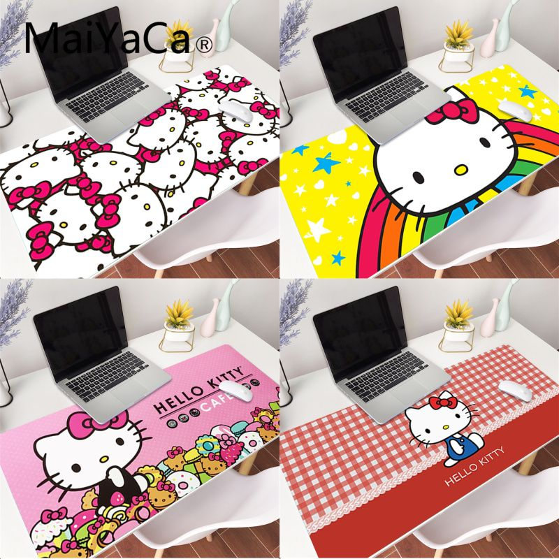 MaiYaCa Girlfriend Gift Pad Pink Hello Kitty Cat laptop Gaming Mouse Pad Large Locking Edge 70x30cm 80x40cm Deak Mat for Cs Go image