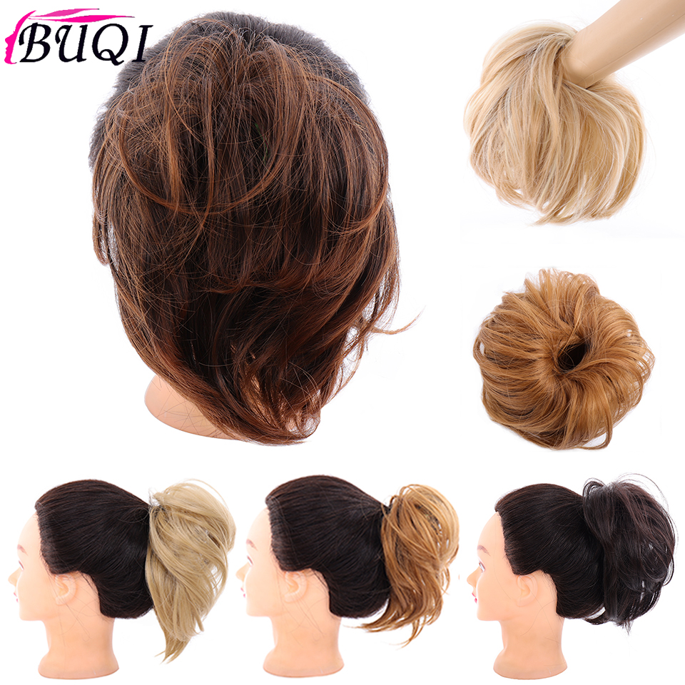 BUQI Women Elastic Straight Bun Donut Chignon Rubber Band Synthetic Hair Scrunchie Wrap On Hair Ring For Ponytail Hairpieces