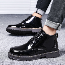 New Patent Leather Boots Men British Style Gothic Ankle Boots Punk Men Black Motorcycle Oxford Boots Thick Sole High Top Shoes