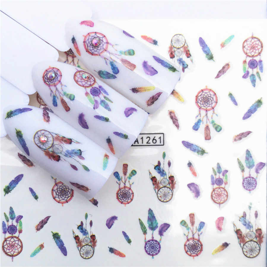 1 Pcs Kleurrijke Stickers A1261 Nail Slider Zwart Rusland Brief Sticker Zomer Flamingo Decals Adhesive Manicure Nail Decorations