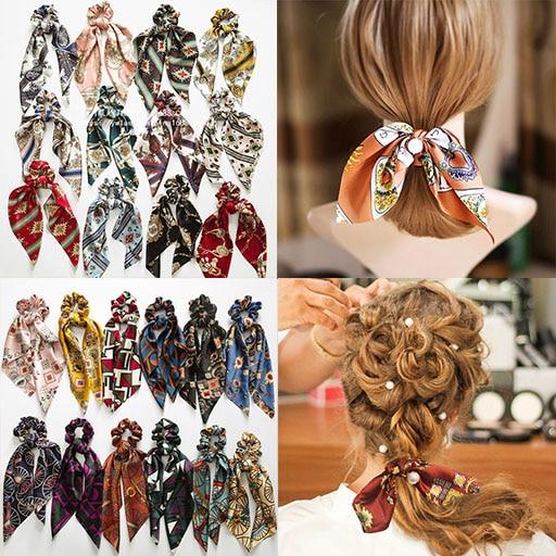 New Design Bowknot Silk Chiffon Red Hair Scrunchies Rubber Women Pearl Ponytail Holder Hair Tie Hair Rope Bands Hair Accessories