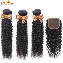 Water Wave Bundles With Closure Brazilian Human Hair 4*4 Dorisy Weave Non Remy Extensions