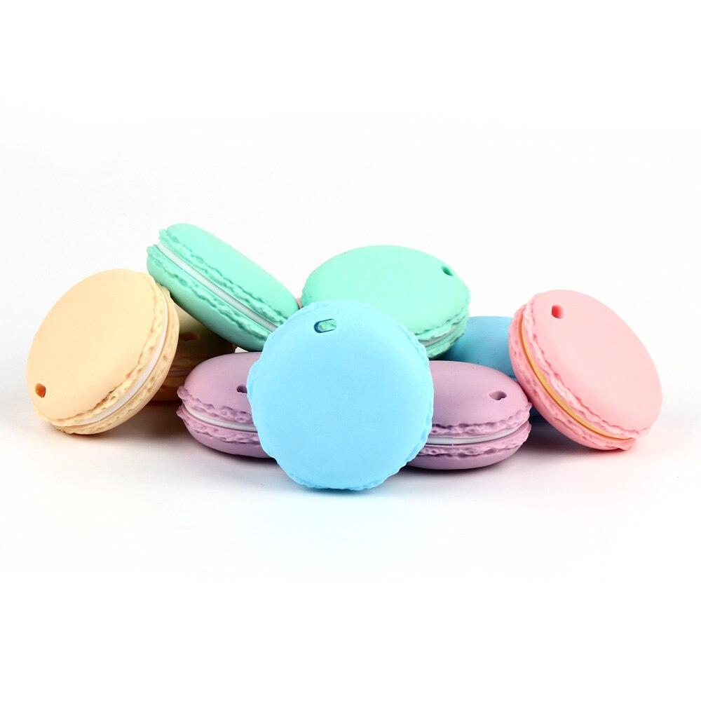 Anneaux de dentition macarons en Silicone | 5 pièces, sans BPA, jouets de dentition de qualité alimentaire, anneau de dentition pour bébé, perles de Silicone, chaîne de bricolage