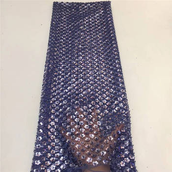 New Arrival Purple Sequins Lace Fabric 2020 High Quality Sequins African Lace Fabric For Wedding French Tulle Lace Fabric KJL973