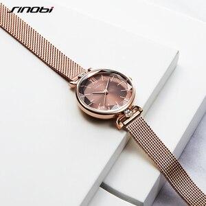 Image 3 - SINOBI 최고 럭셔리 브랜드 여성 시계 황금 스테인레스 스틸 숙녀 손목 시계 여성 우아한 다이아몬드 시계 선물 reloj mujer