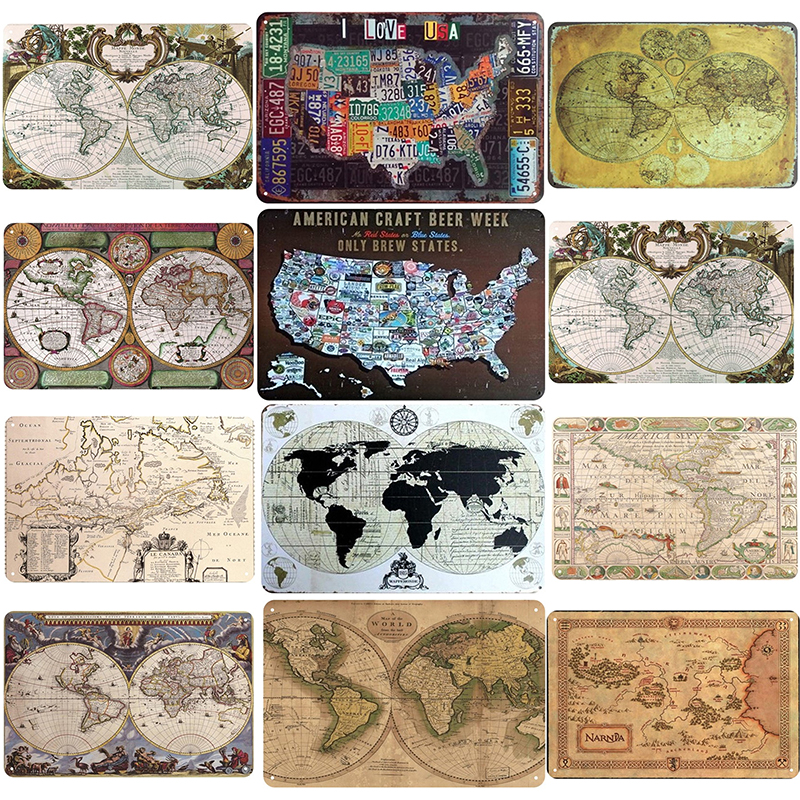 World Map Print On Iron Painting Metal Poster Vintage Tin Sign Plaque Wall Art Decor For Bedroom Bar Cafe Club Garage 20x30cm