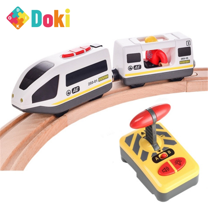 Doki Toy Toys For Children Remote Control Electric Train Toy Magnetic Slot Compatible With Brio Wooden Track Car Toy Kids Gift